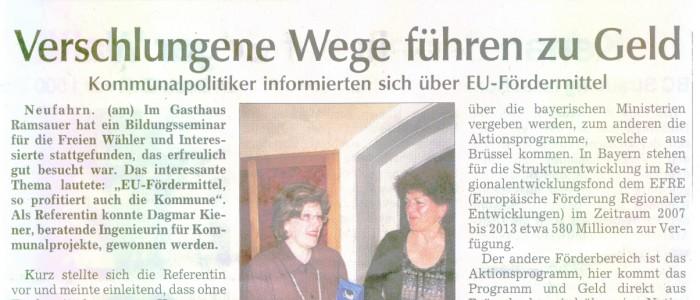 Kommunalpolitiker informieren sich über EU-Fördermittel